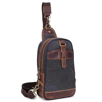 Vintage Canvas sling Backpack with leather trim / canvas chest sling bag for men and women