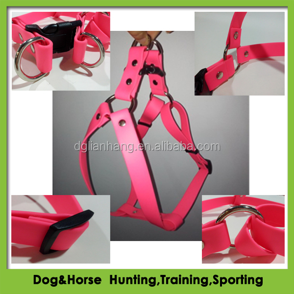 waterproof metal chain TPU/PVC coated nylon webbing dog harness