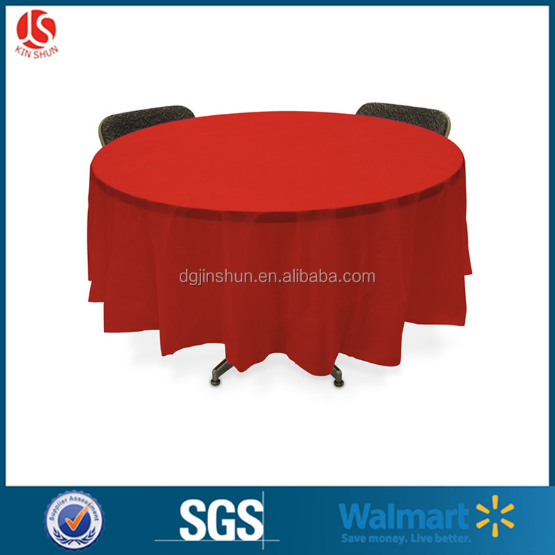 Multi color round plastic table cover tablecloth for wedding 1-30 colors
