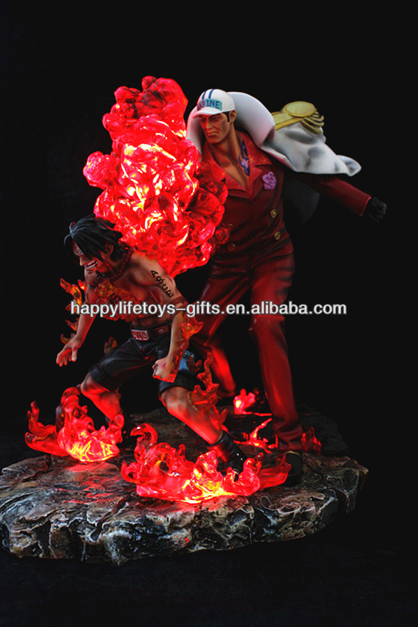 Wholesale Japanese Anime One Piece Aces LED Resin Action Figure,Custom Anime Figures