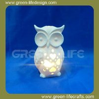 Lovely White Ceramic owl shape Led light holder ornament