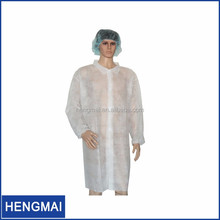 Cheap Disposable PP/PP+PE/SMS Waterproof Elastic Cuff Lab Coat with Collar Korean