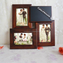 Europe Simple Modern 4x6'' 3 Opening Wood Collage Photo frame With Chalk Board For Writing
