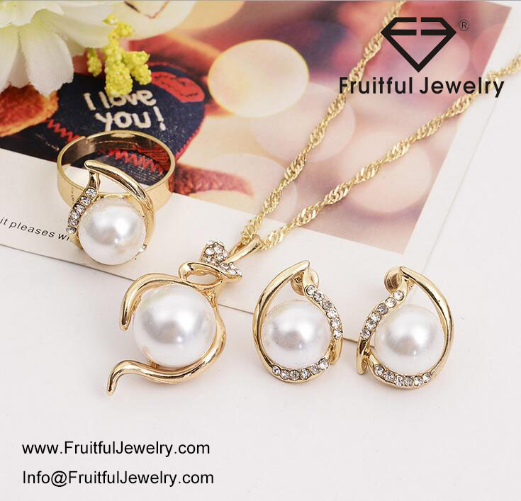 Fashion Women Necklace Earrings Jewelry Sets,Crystal Gold Silver Plated Big Simulated Pearl Jewelry Sets