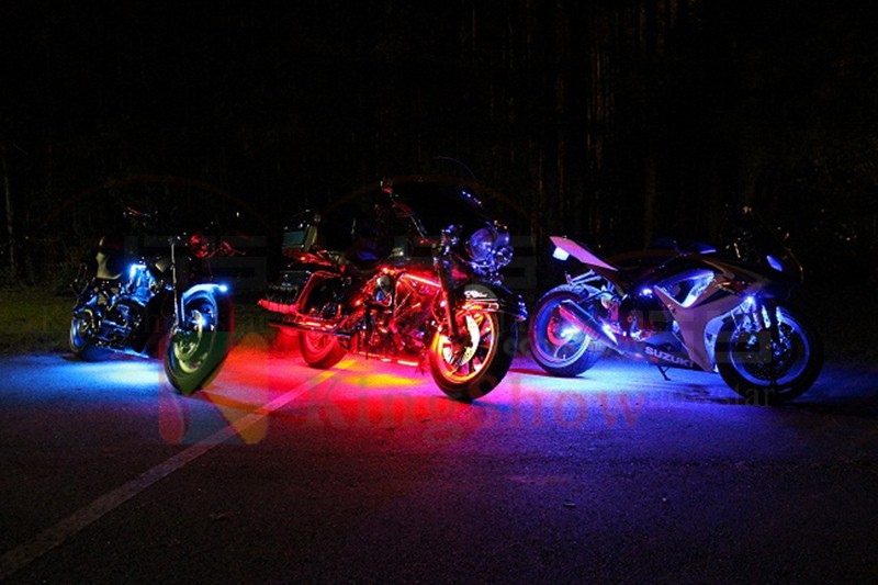 Million Color 10pc Flex Strip Motorcycle Underbody LED Neon Accent Light Kit with RGB controller