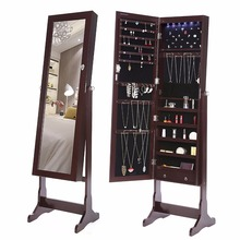 Full-Length LED Cheval Standing Mirror Jewelry Armoire