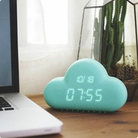 new Digital Geometric Alarm Clock,Muid Voice-activated desktop backlight time date cloud clock,Cloud Shape Kids Alarm Clock