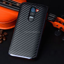 Luxury Carbon Fiber Chromed Plated PU Leather Hard Phone Cover Case For LG G2
