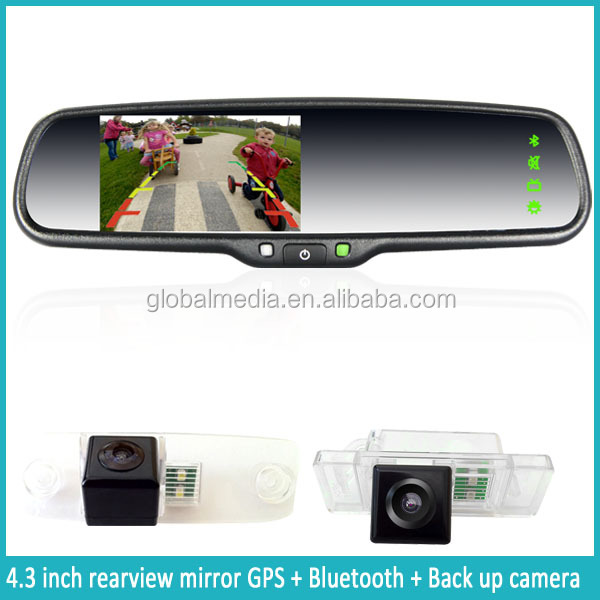 GERMID rearview mirror gps navigator + auto reverse camera display + 2 video inputs for DVD/VCD