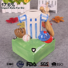 handmade color painted ceramic creative cool adult baseball coin bank for sale