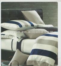 100% cotton printed hotel bed linen with stripe