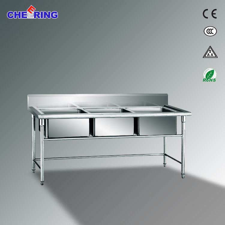 Three Bowl Commercial Stainless Steel Kitchen Sink Table for Hotel & Restaurant Kitchen