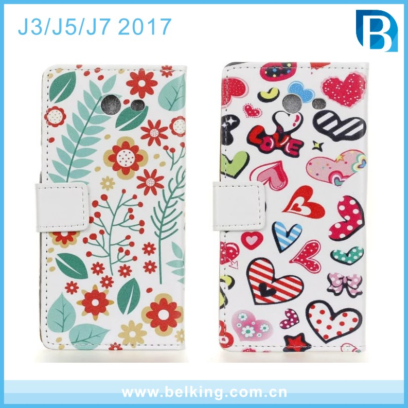 Animal girl love floral multi pattern PU flip wallet leather cell phone case for Samsung J3 J5 J7