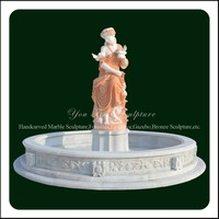 Garden Decorative Marble Water Fountain With Lady Statue