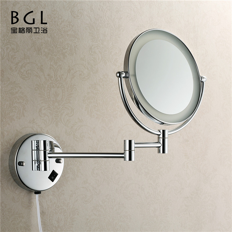 makeup mirror wall mount brass chrome finishing Led mirror