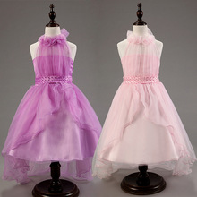 Sweet 4 color princess ball gown halter ruffle kids gowns dresses for weddings girls party dress