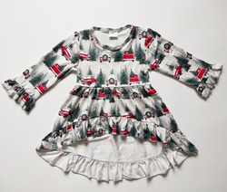 High quality wholesale cheap kids clothes china christmas frock design for baby girl high low dress