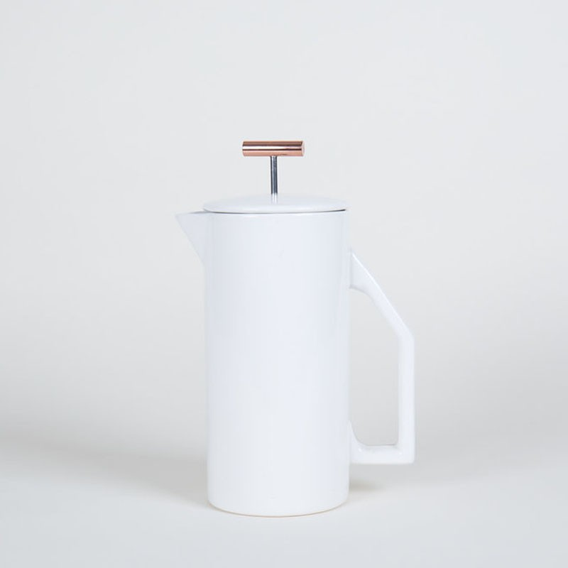 exclusive french press with a high-gloss white for coffee brewing