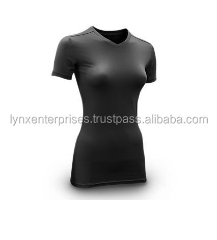 Ladies Fitness wear / women's compression heat short sleeve Polyester/Spandex