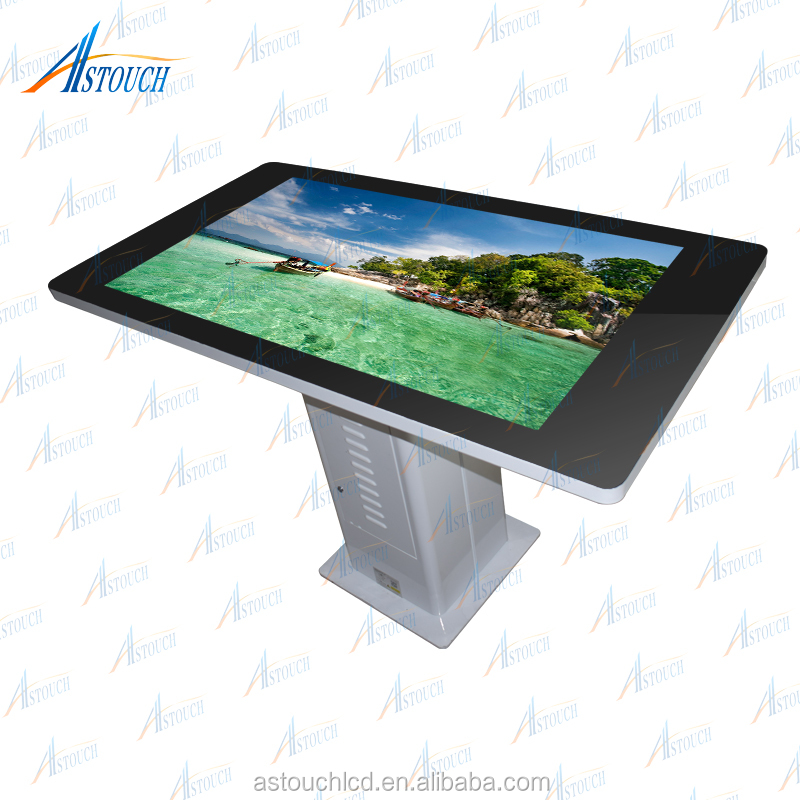 42 inch luxury floor standing interactive T type touch table with IR touch
