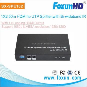 FOXUN 2 way HDMI Splitter with IR control over 50m single cat6 cable