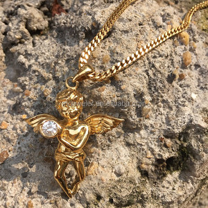 Angel wing choker necklace set for women, simple gold pendant design MJHP131