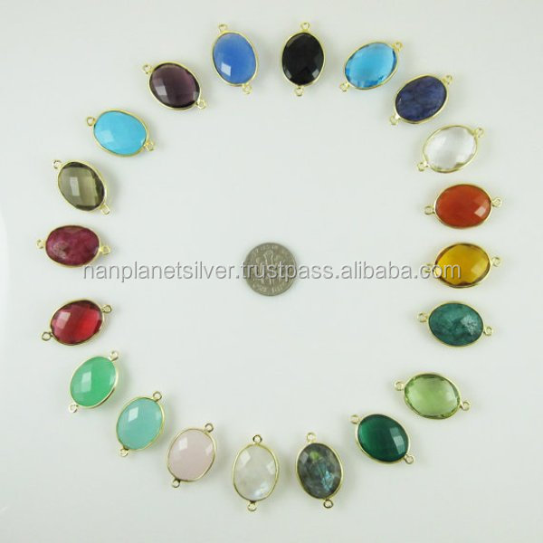 Gold Plated Multi Color Bezel Gemstone For Bracelet