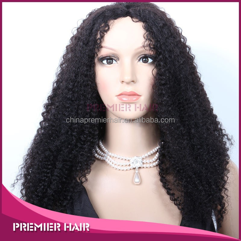 Hair stying 7A Grade Natural Color Kinky Curl Virgin Brazilian Human Hair Full Lace Wig