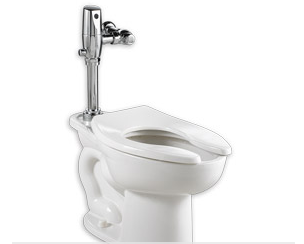 vitreous china floor mount toilet with flushometer valve