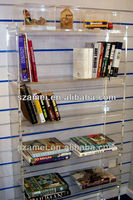 2013 contemporary customized supply new design wall mount acrylic book shelf