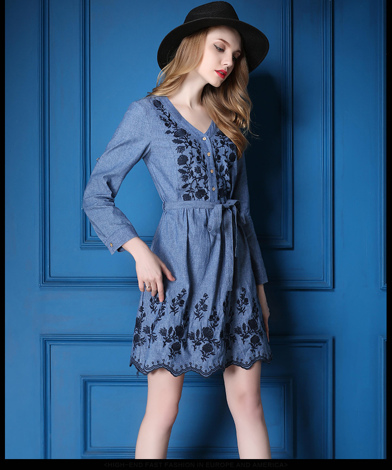 V-neck ladies western dress designs denim flower dress patterns