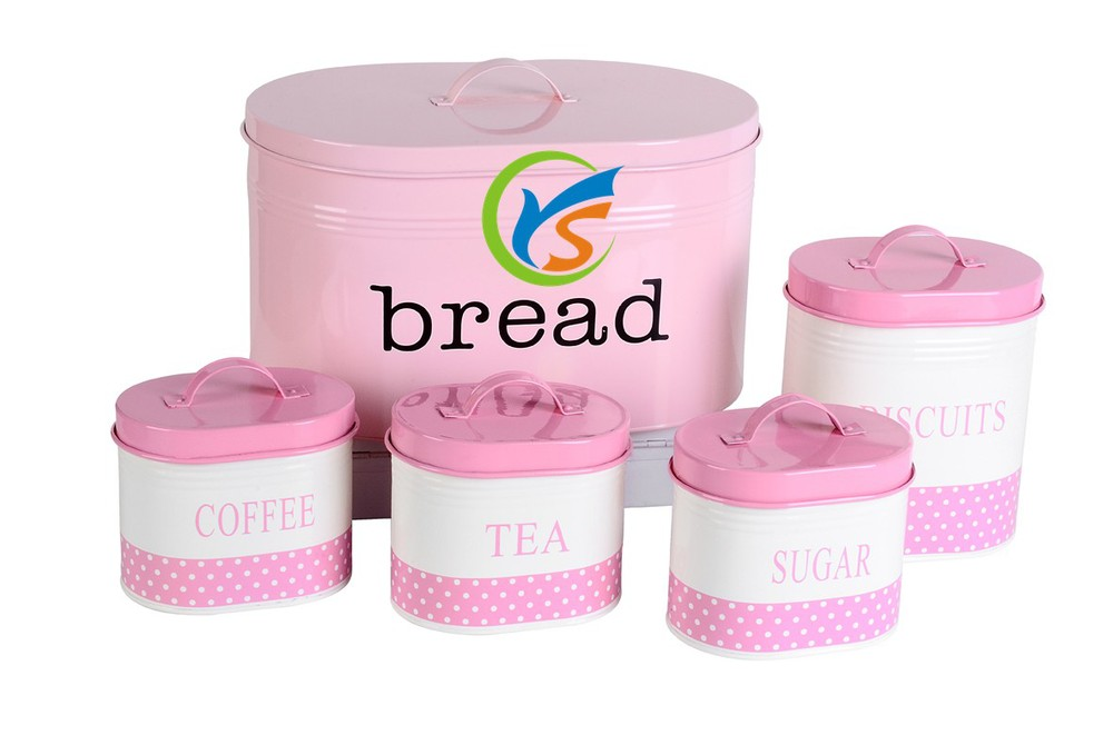 Set of 5 pieces oval pink galvanized metal food storage canister box