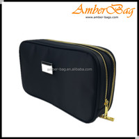 Double layer nylon cosmetic bag,make up bag with metal zipper AM-1682