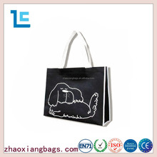 Cheap customized lovely dog printed woven black shopping bag