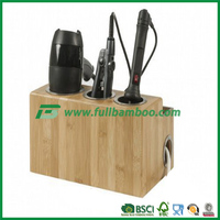 fine bamboo wood hair dryer stand holder from china