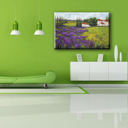 Purple flowers green grass beautiful village scenery wall canvas painting