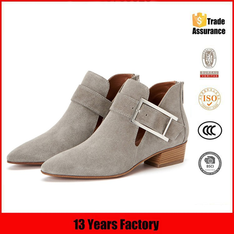 new design fashion Khaki grey low heel round toe lady ankle casual women shoes boots