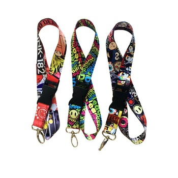 Factory cheap printed custom name tag satin ribbon lanyards