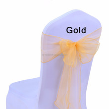 cheap lace chiffon organza wedding chair sashes gold