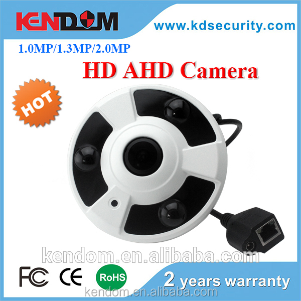 Kendom 2016 New Arrival AHD CCTV Camera 360 Wide View Angle Fisheye Camera 1.8mm HD Lens with 3 IR Array Leds