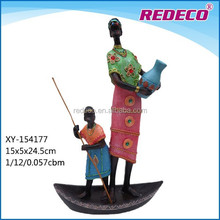 African woman figurine resin black lady with child statue