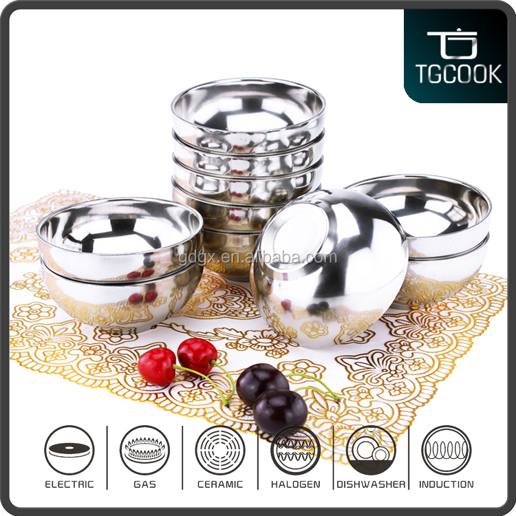Chaohou caitang factory 10 pcs Dinner ware Stainless Steel Double Wall Mirror Bowl Set