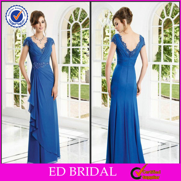 EDM018 Latest V Neck and Back Crystal Beaded Asymmetric Gown Mother of the Bride Tropical Dresses