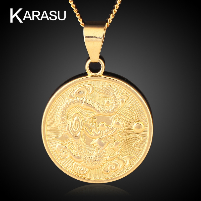 Chinese Zodiac Dragon Coin Round Copper Pendant for Jewelry Necklace Free Shipping