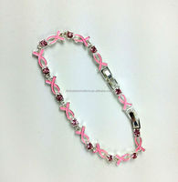 2015 New Pink Ribbon Breast Cancer Awareness Crystal Enamel Toggle Clasp Bracelet Promotional Gift Crystal Link Chain Bracelet