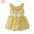 Yellow Seersucker Kids Dress with White Belt