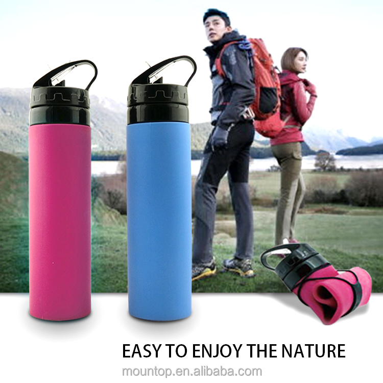 Hot private label collapsible silicone sports water bottles gym drinking shaker bottle