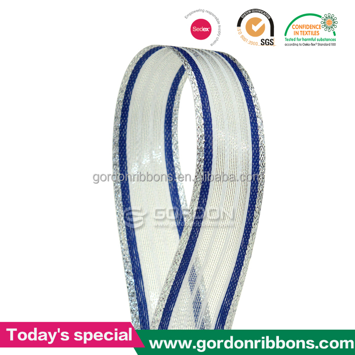 White organza with satin blue stripe and silver edges/sheer ribbon/ make bow ribbon for box decoration