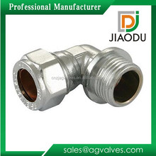 10mm or 15mm or 22mm or 28mm Brass Chrome Plated Male Thread Compression Fitting Connector For Copper Pipe 90 Degree Joint Elbow