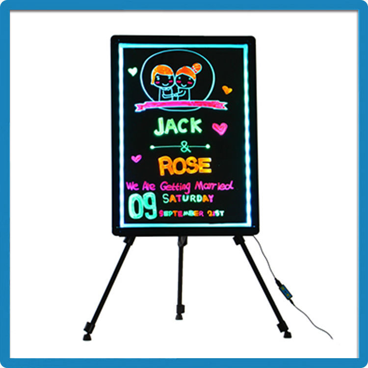 ZD Message LED Sign 90 Flashing Modes Rounded Corner Black Light Menu Board Aluminum Alloy Frame Glass Notice Board